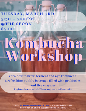 3 fermentation bottles filled with kombucha on top of a wooden table and a blue backsplash. Poster information overlaid in turquoise and light pink colours.