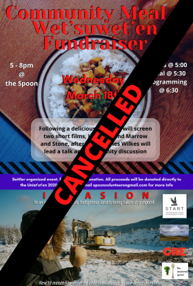 image of a bowl of stew on top of poster, image of invasion film on bottom of poster. Event text is on top of stew image. Seasoned SPoon, START, CRE and Marrow and stone logos are on top of Invasion image.