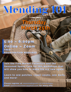 woven basket sitting on top of a table, with various sewing and crafting supplies in it, including scissors, fabric, twine, sewing thread etc. Event text is over top and to side of image