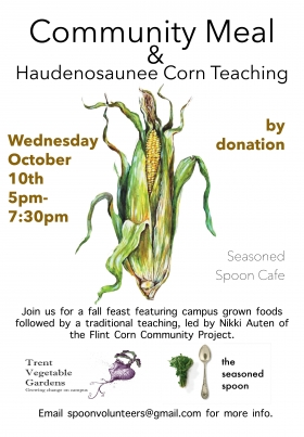 illustration of corn on white background with written text about the event