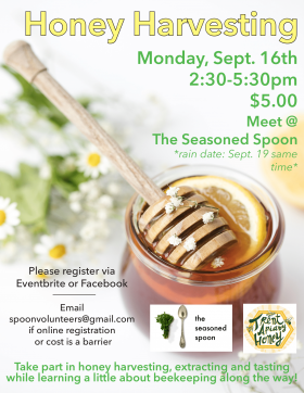 Bowl of fresh honey with wooden honey spoon and slice of lemon, surrounded by event text