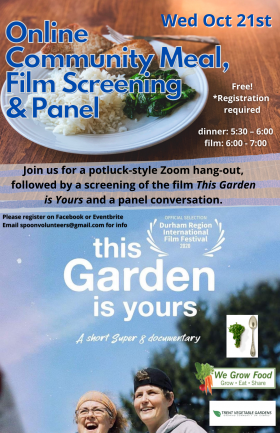 plate of vegetarian food on top of poster, and This garden is yours film image on bottom half. event text is over top of both images
