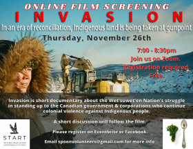 An Indigenous person in parka with rattle standing in foreground of a winter landscape with a bobcat tractor and construction machinery behind them. poster text is on top of and around image